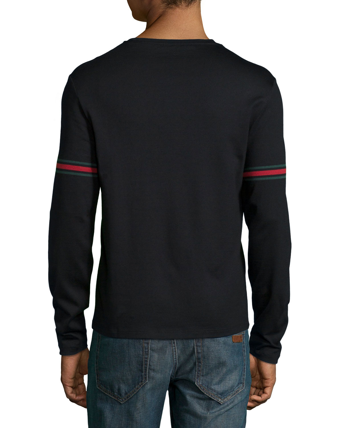 Gucci long sleeved t shirt with arm band details in black for Shirts for men with long arms