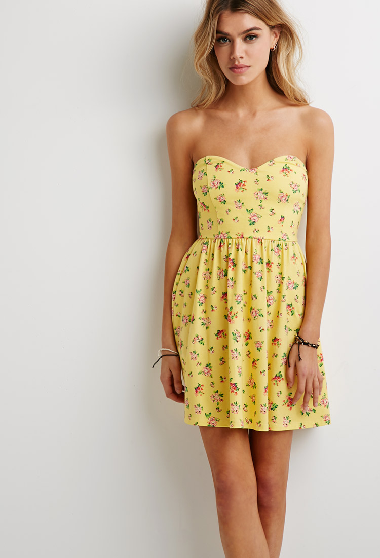 a47e8b80bd2 Forever 21 Clustered Floral Sweetheart Dress in Yellow - Lyst