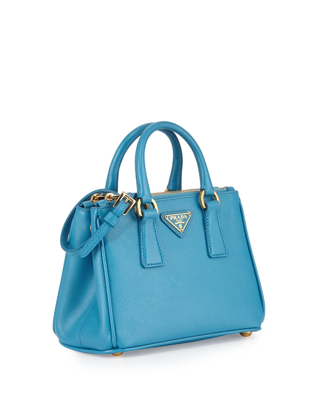 Lyst - Prada Saffiano Mini Galleria Crossbody Bag in Blue e10232c6e1860