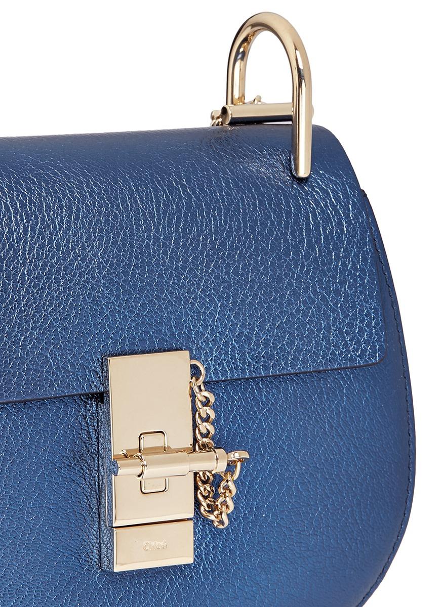 chloe purse replica - Chlo�� Drew Metallic Leather Shoulder Bag in Blue (Blue,Metallic ...
