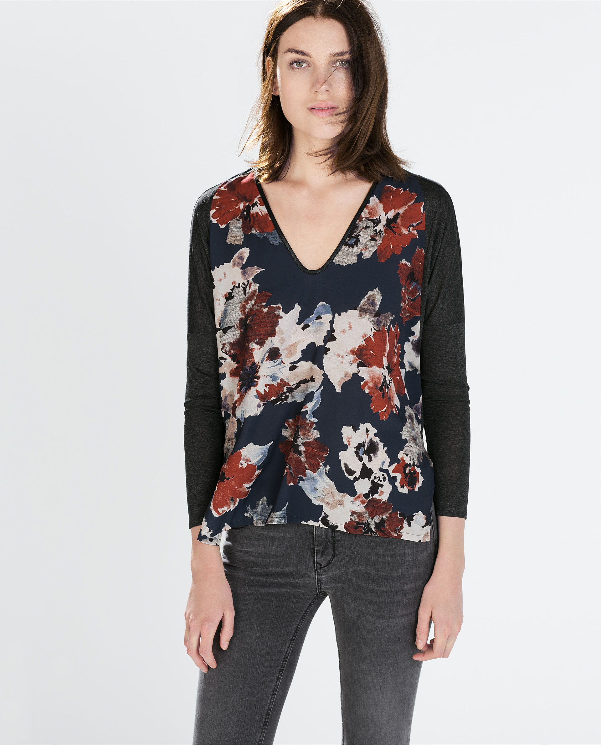 Zara floral t shirt with faux leather trim in gray grey for Zara mens floral shirt