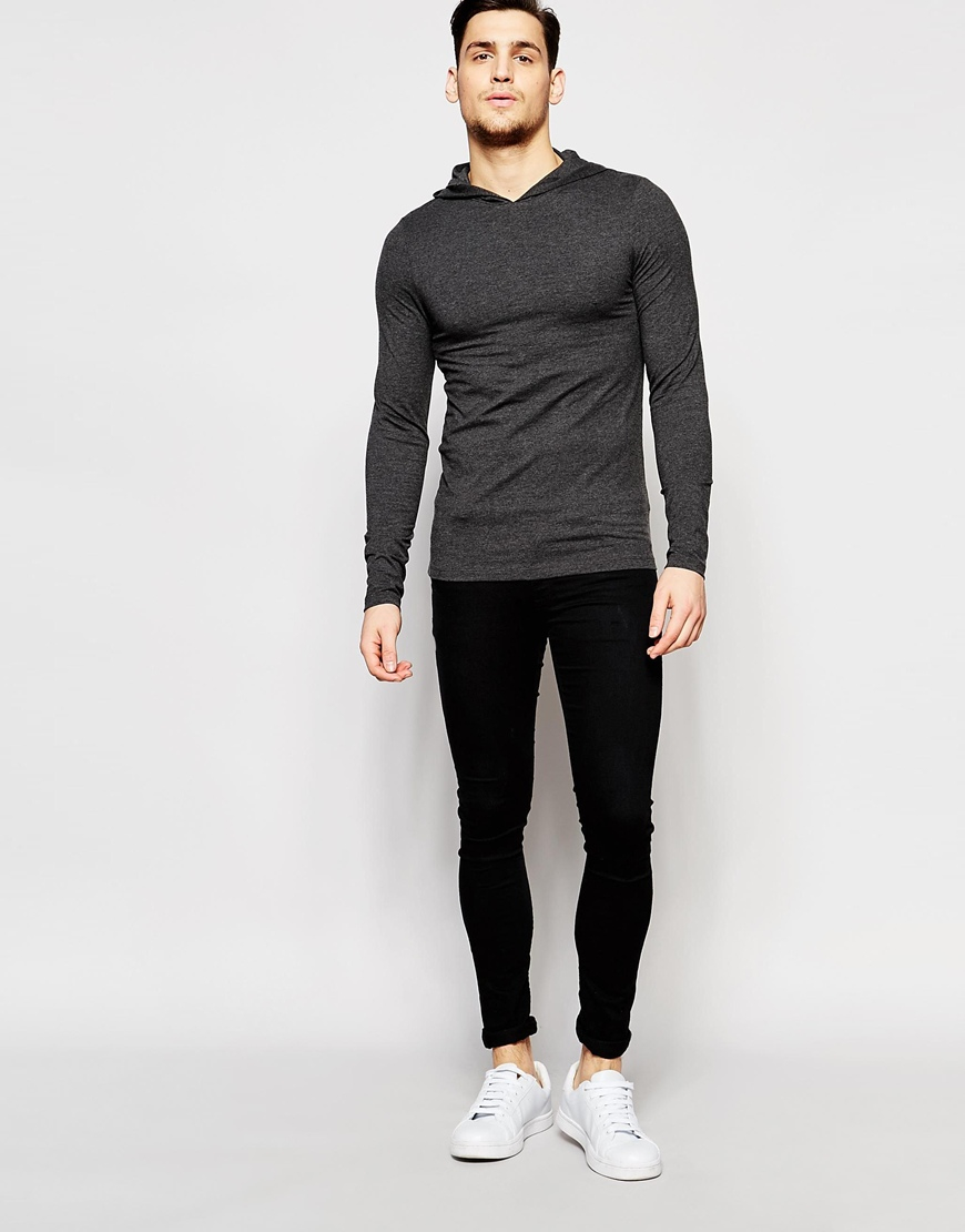 Asos Extreme Muscle Long Sleeve T-shirt With Hood In Grey in Gray ...