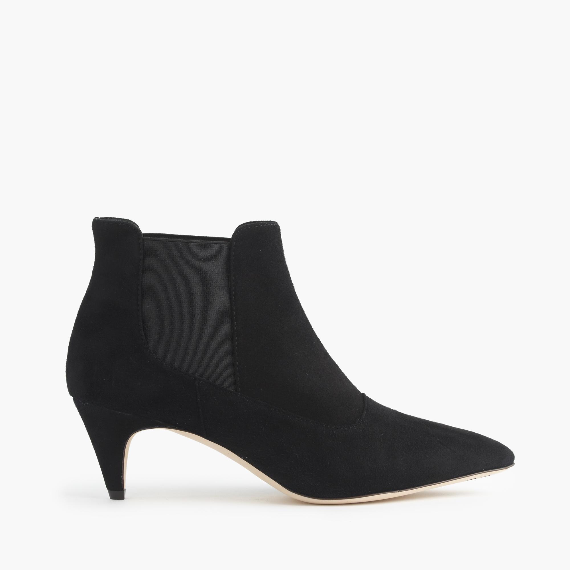 j crew suede kitten heel chelsea boots in black lyst