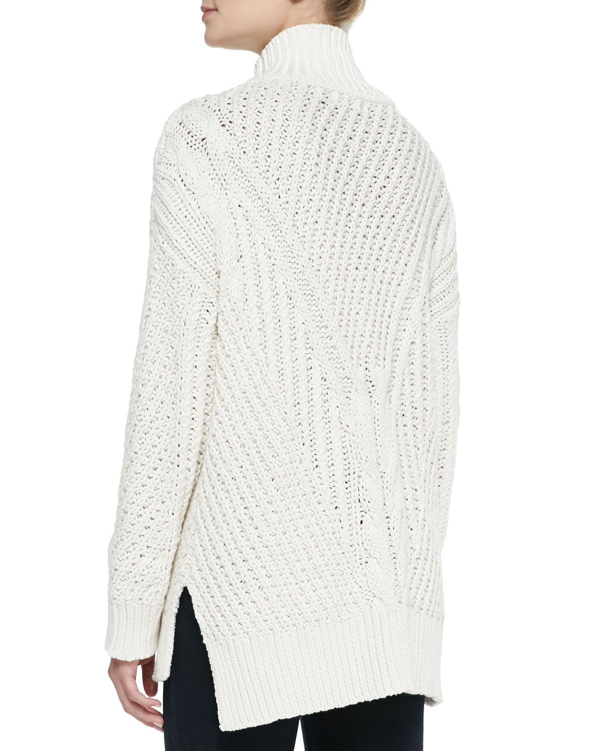 525 america Cable-Knit Mock Turtleneck High-Low Sweater in Natural ...