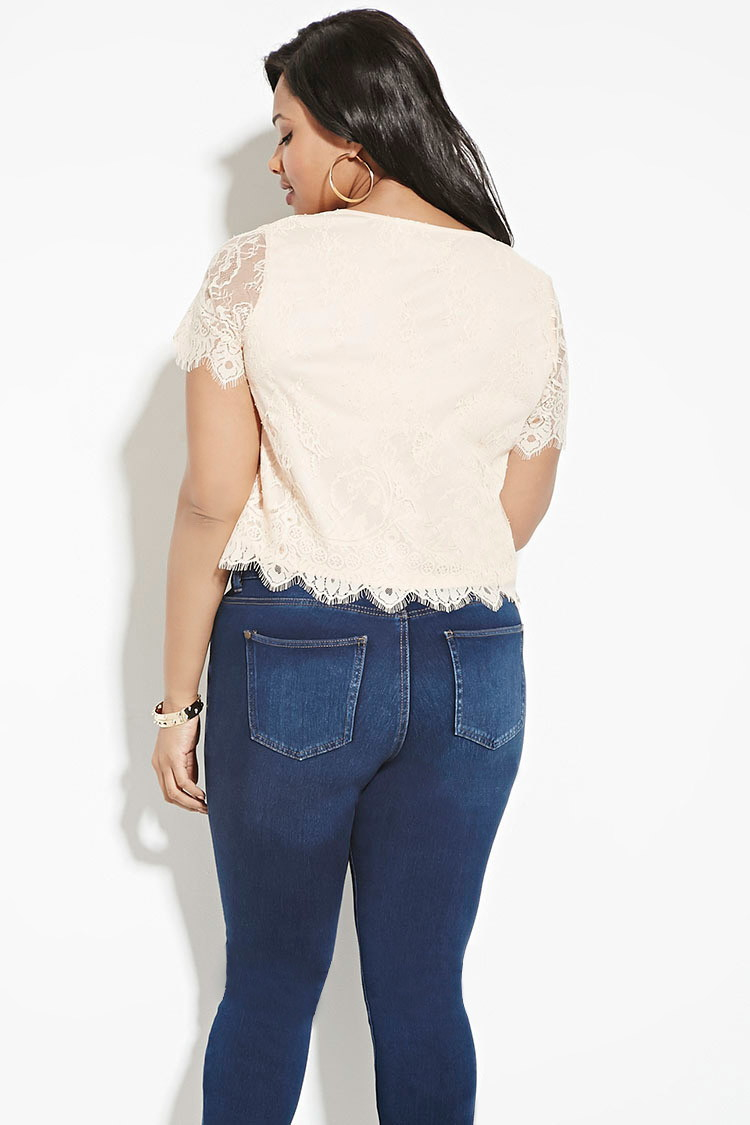 forever 21 plus size beaded lace top in lyst