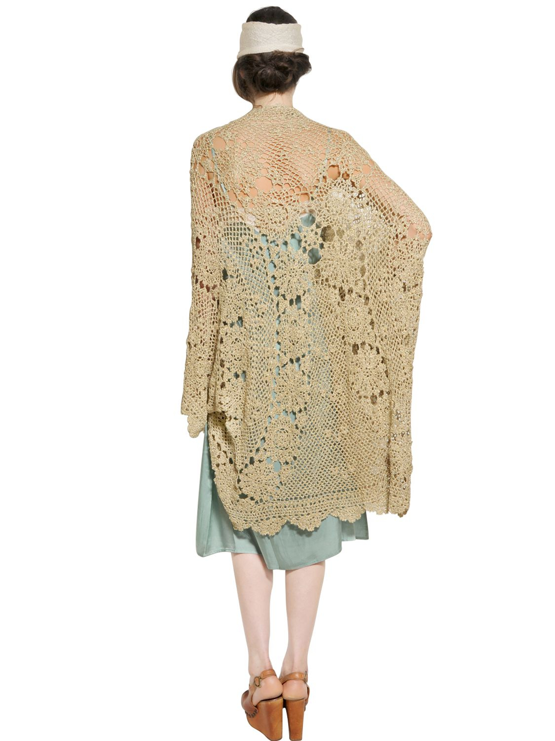 Mes demoiselles Oversize Metallic Crochet Sweater in Metallic | Lyst