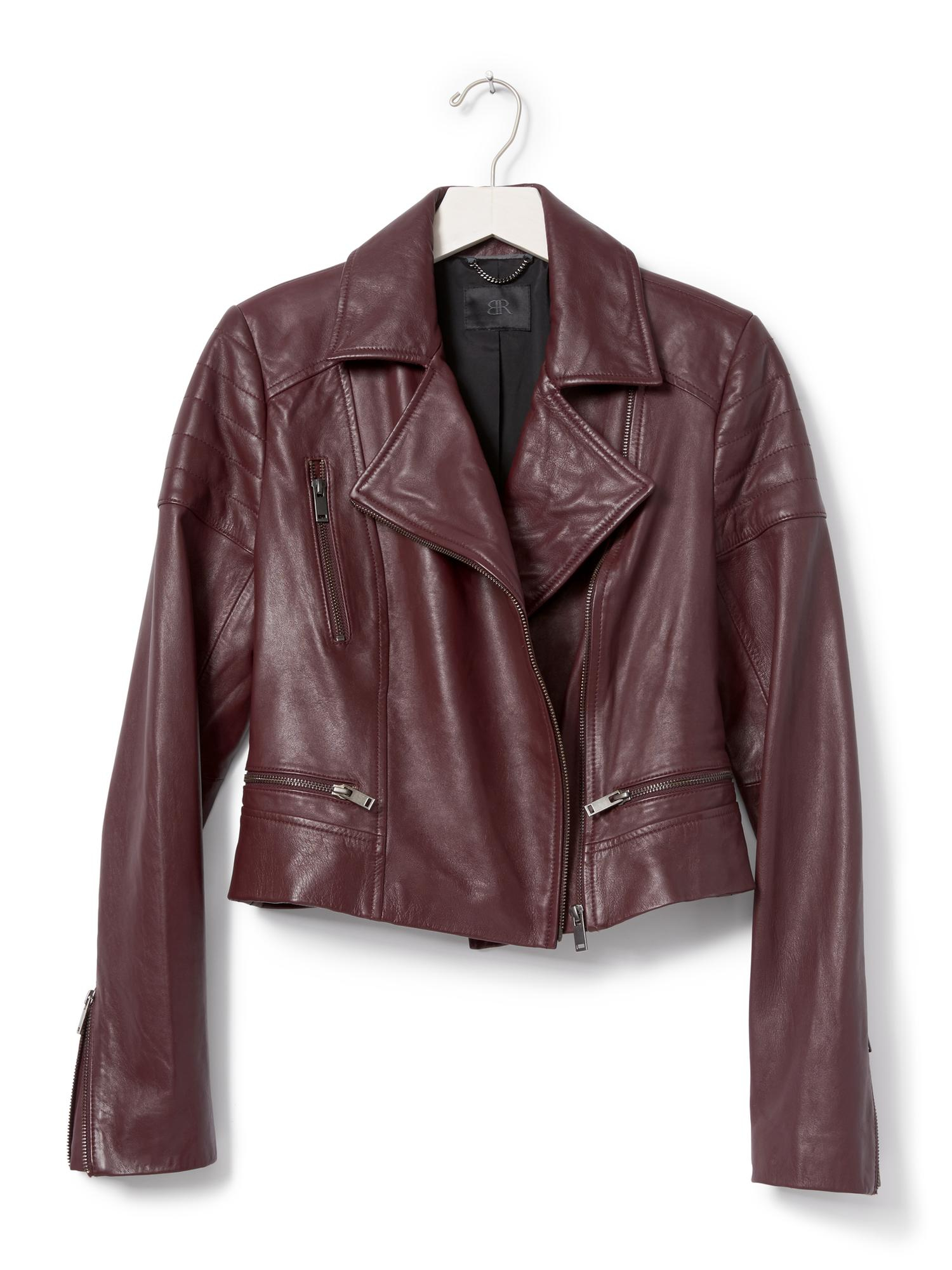 Banana Republic Br Monogram Burgundy Leather Moto Jacket in Purple ...