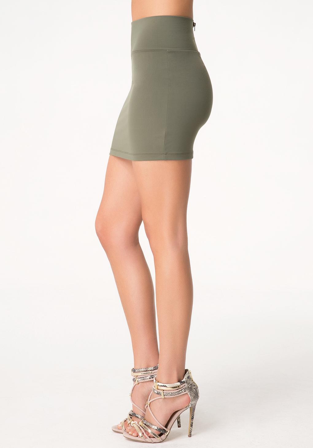 Bebe High Waist Mini Skirt in Green | Lyst