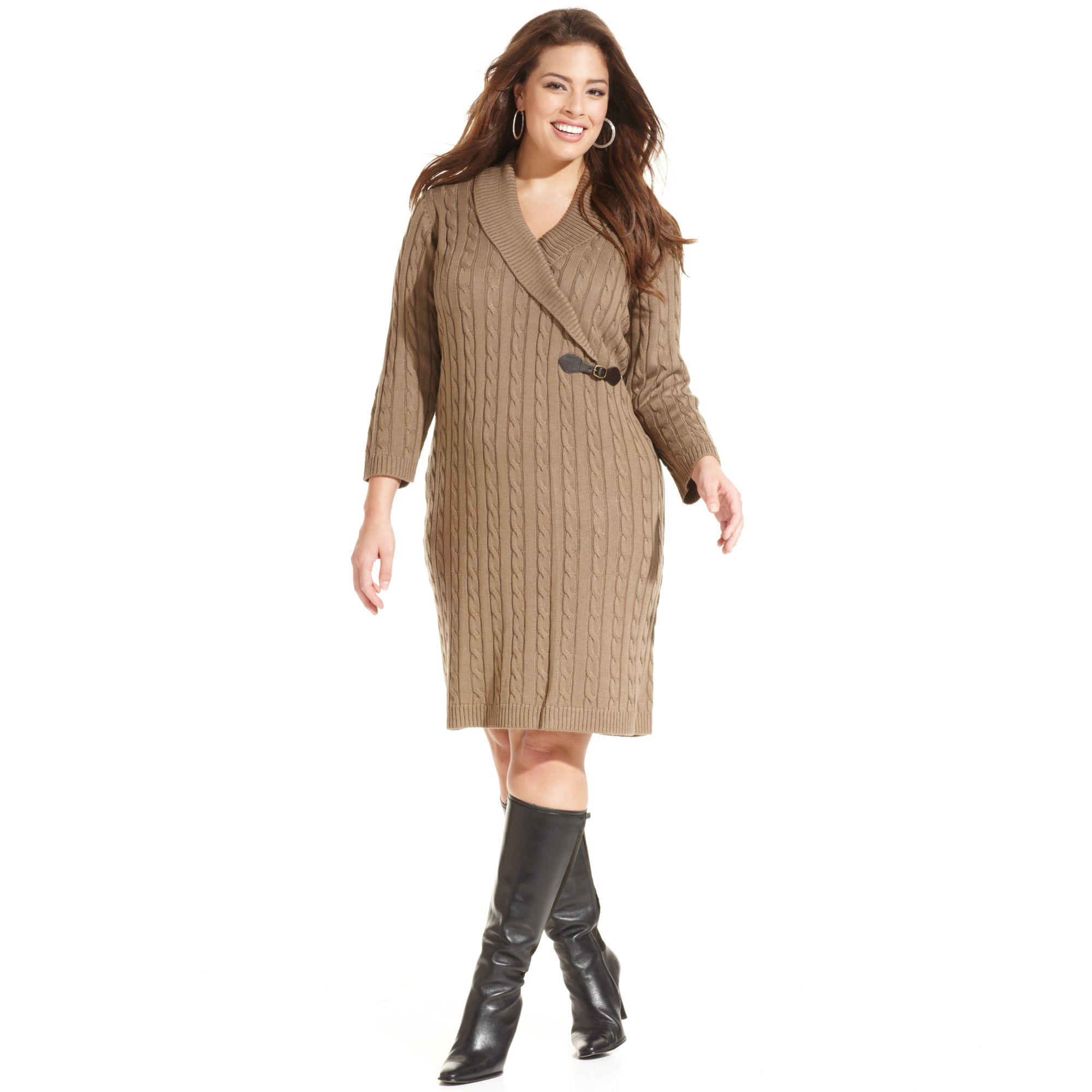 Calvin Klein Plus Size Cable Knit Sweater Dress in Natural - Lyst