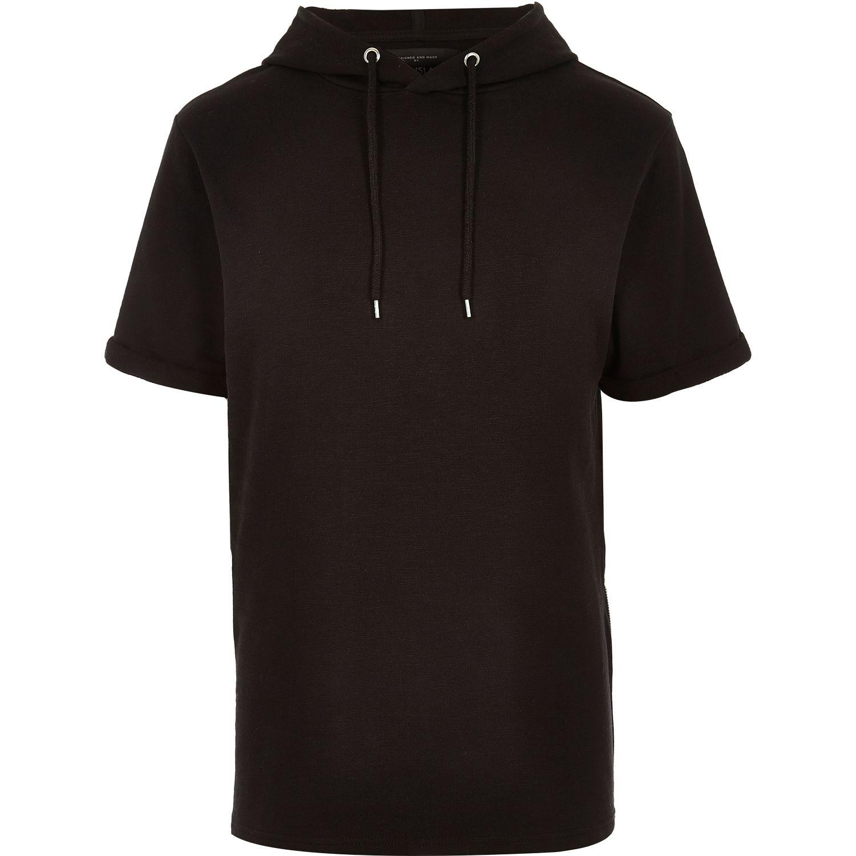 Lyst - River Island Black Short Sleeve Hoodie Sweatshirt ...