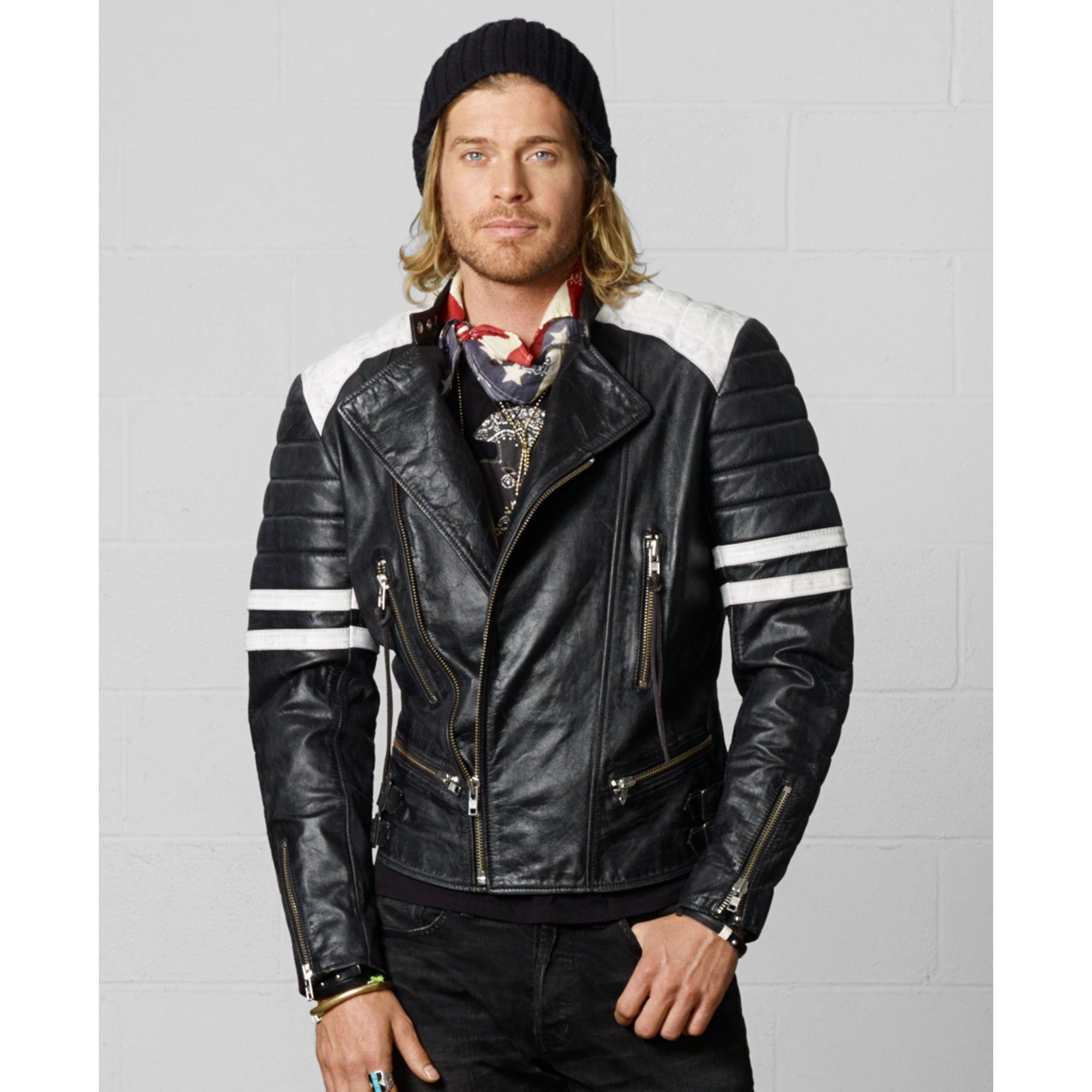 95975789a Denim   Supply Ralph Lauren Leather Moto Jacket in Black for Men - Lyst