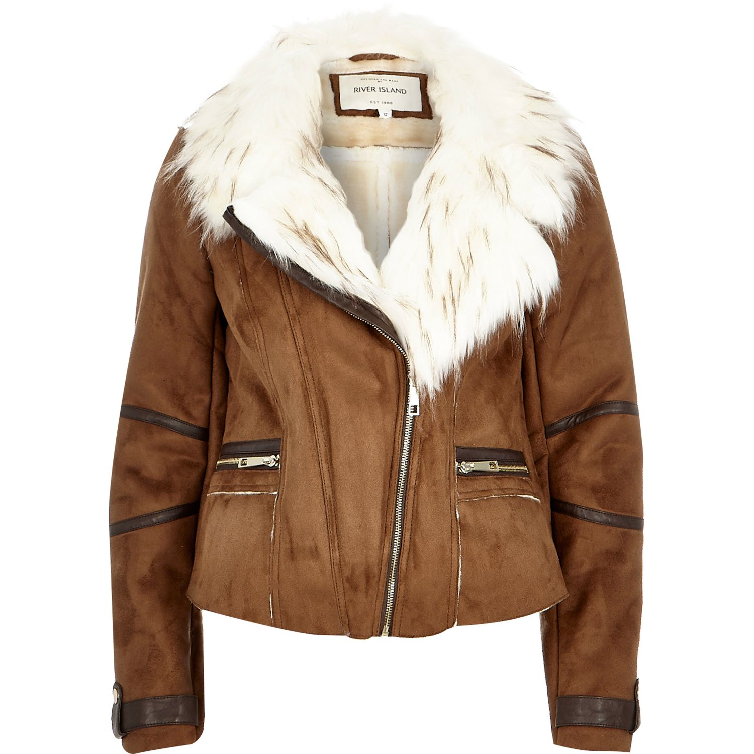 Leather And Fur Coat River Island