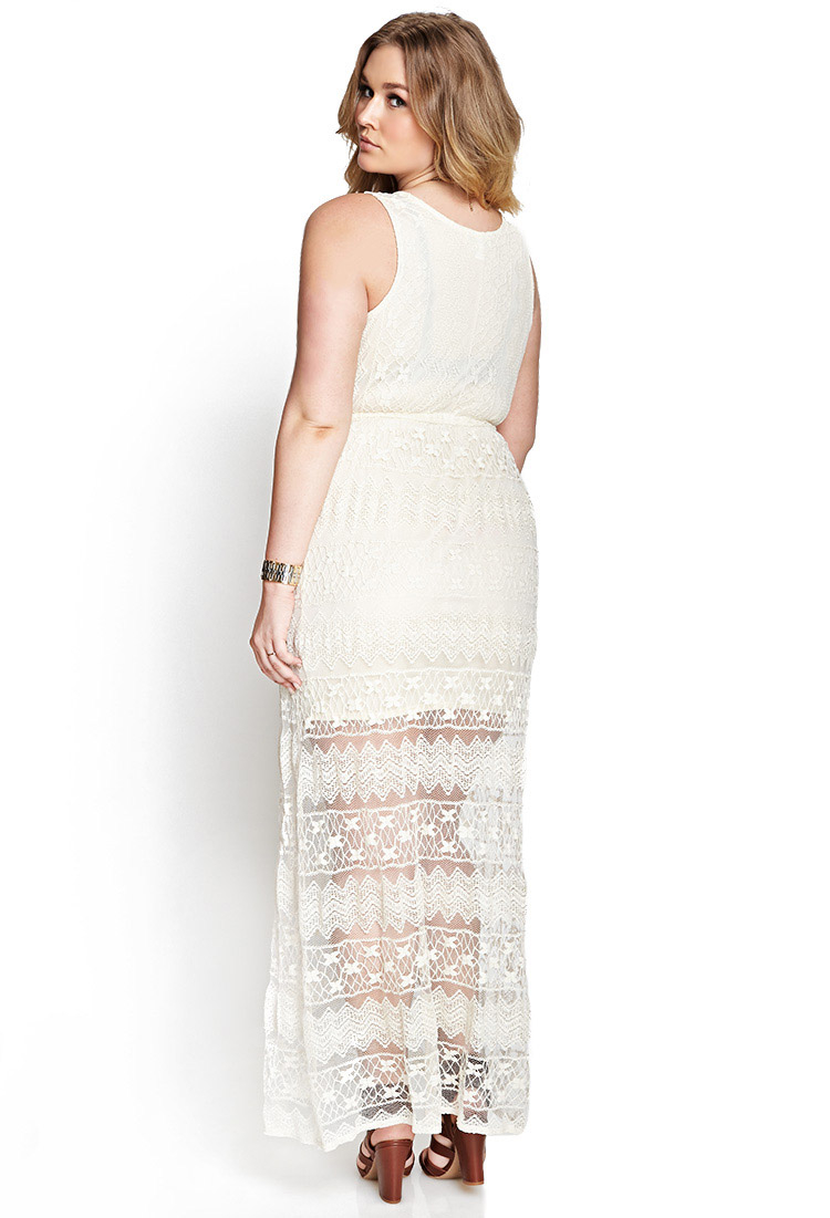 Forever 21 Crochet Lace Maxi Dress in White | Lyst