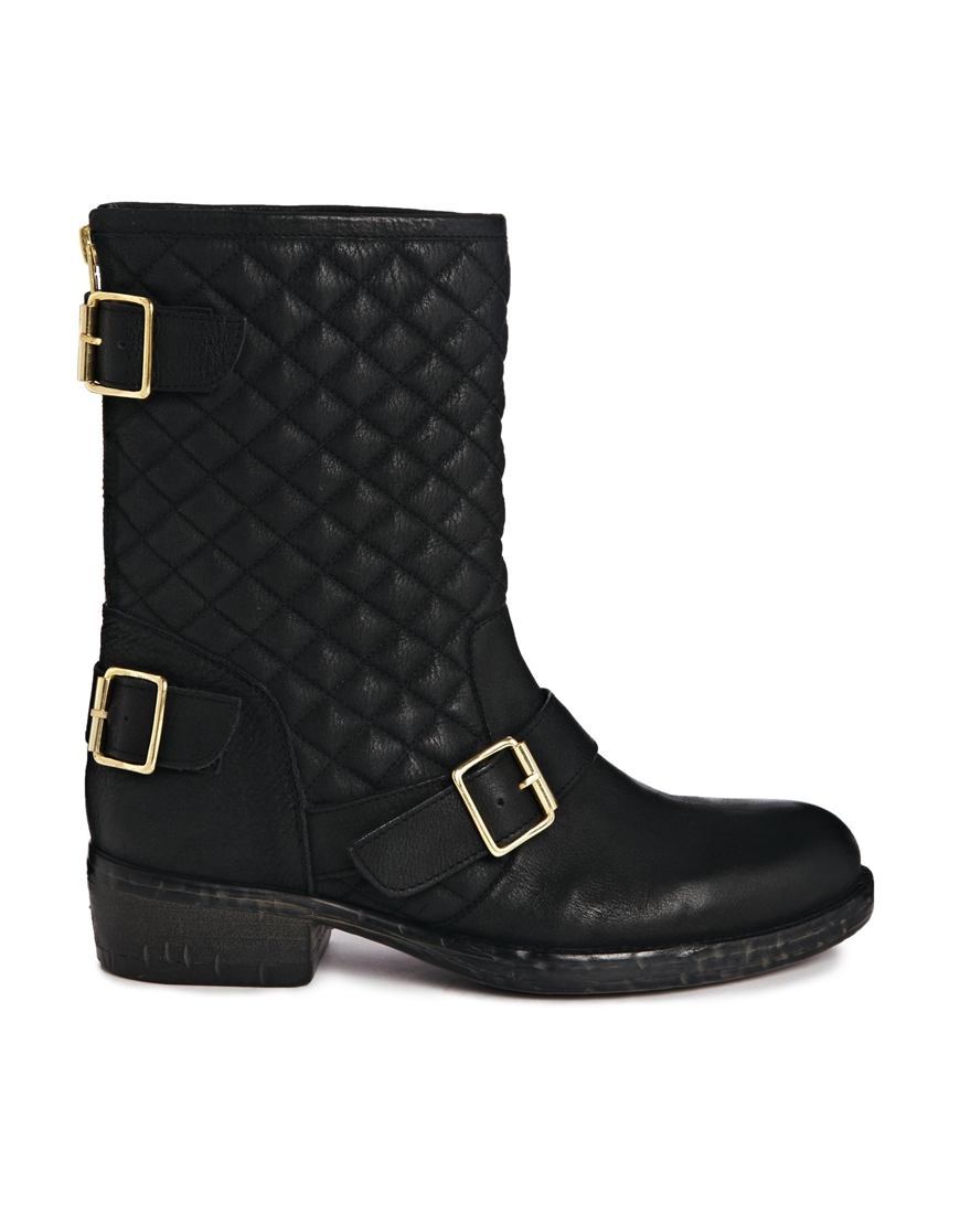 dune router leather mid calf boots in black blackleather