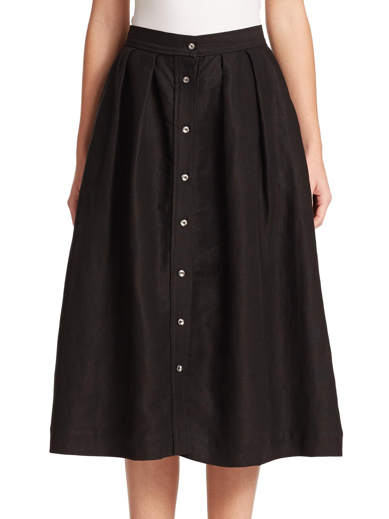 milly button front midi skirt in black lyst