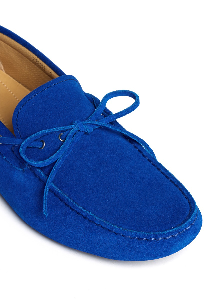 Cobalt Blue Suede Driving Shoes
