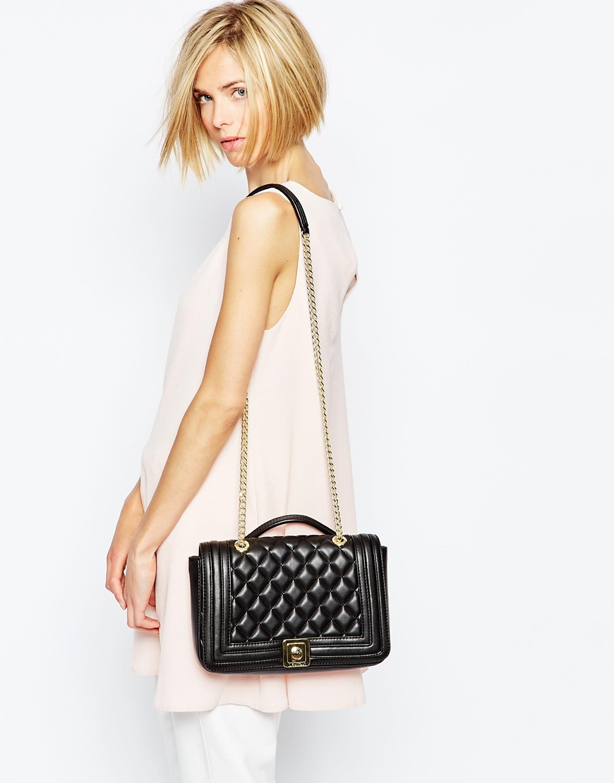 Love Moschino Quilted Shoulder Bag With Chain Strap In