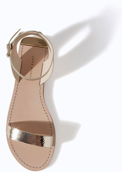 Zara Metallic Leather Sandal With Ankle Strap In Gold Lyst