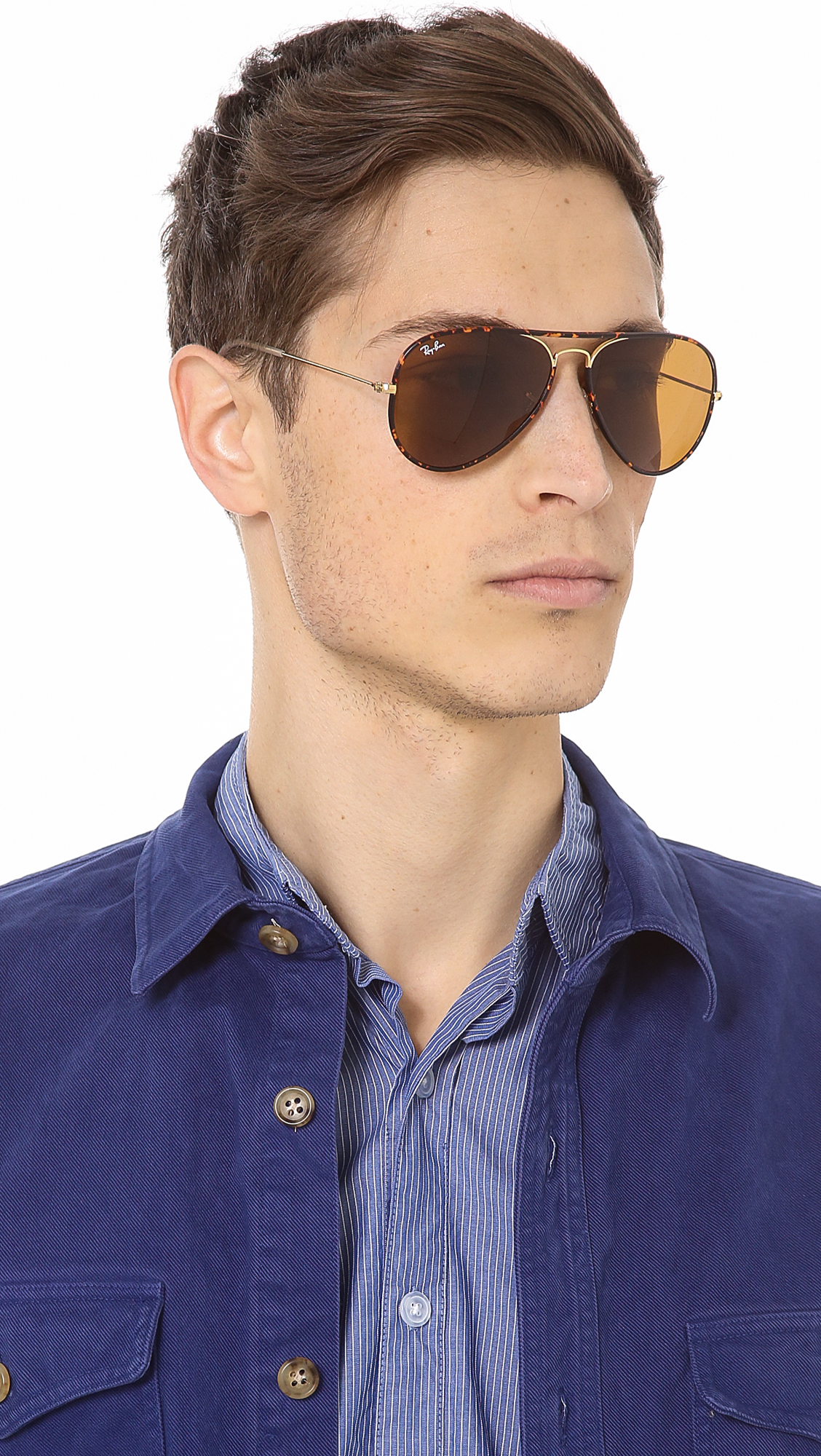 Lyst Ray Ban Aviator Sunglasses In Brown For Men