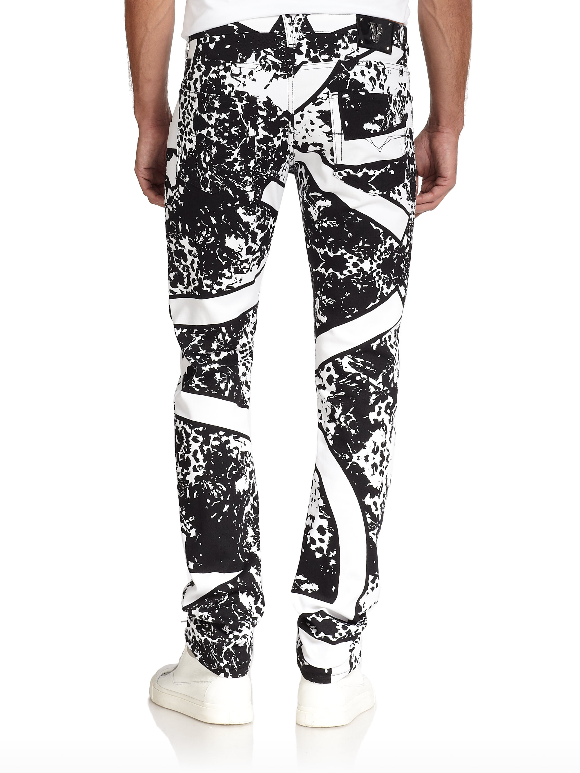 Versace jeans Splatter & Stripe Print Jeans in White for Men | Lyst