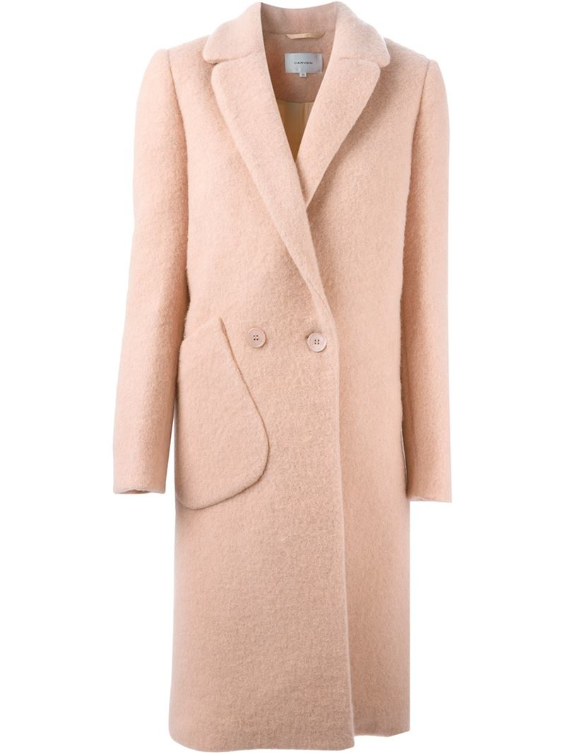 Carven Double Breasted Slim Coat in Pink | Lyst