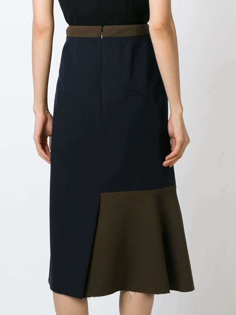 marni flared detail skirt in blue lyst
