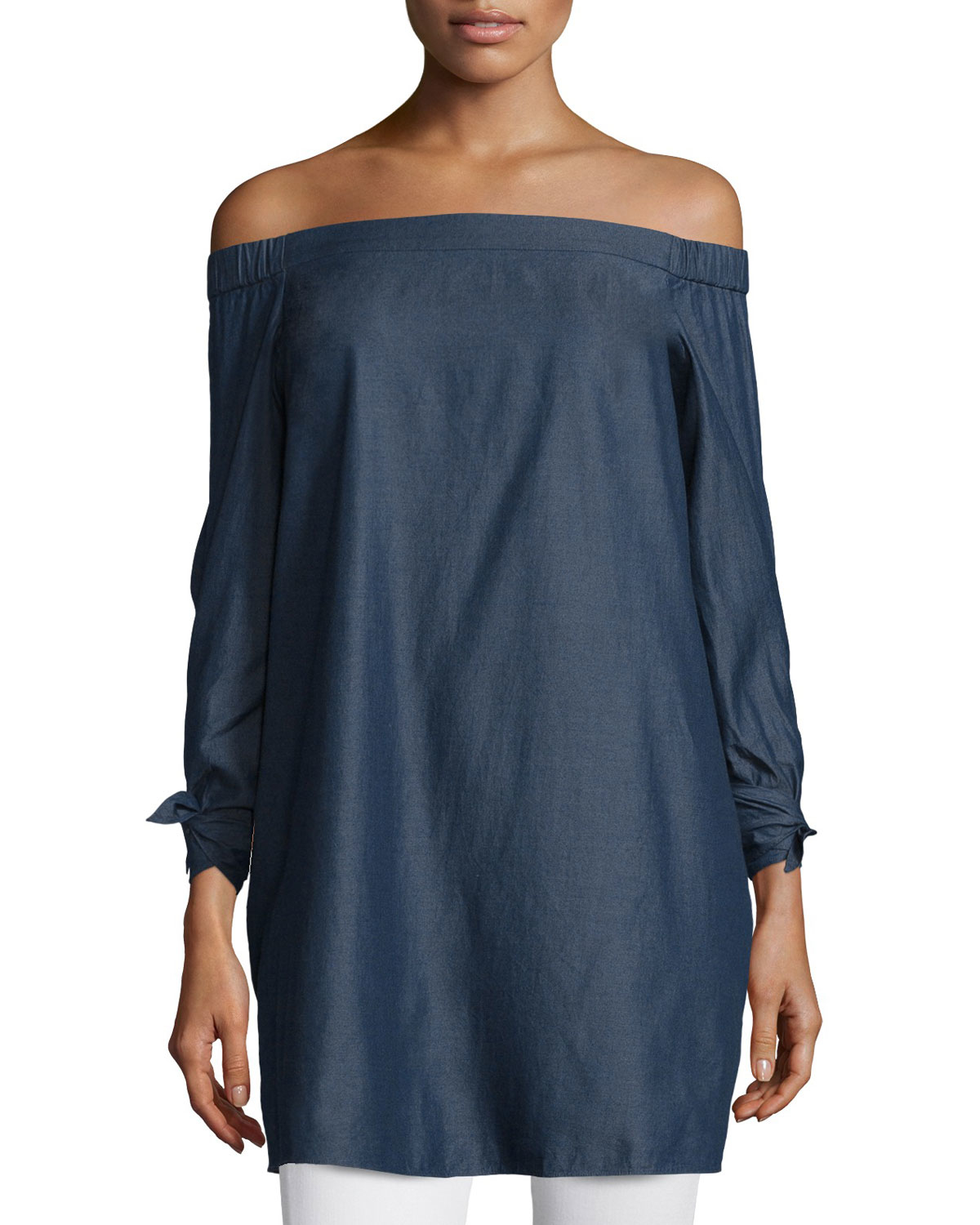 1ae4ccefea23 Tibi Chambray Off-the-shoulder Mini Dress in Blue - Lyst