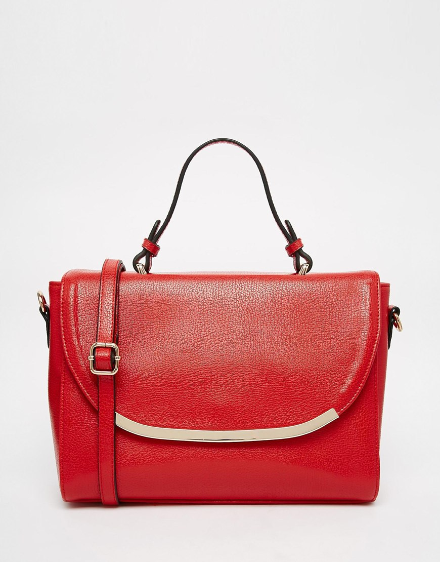 Asos Top Handle Tote Bag In Red Lyst