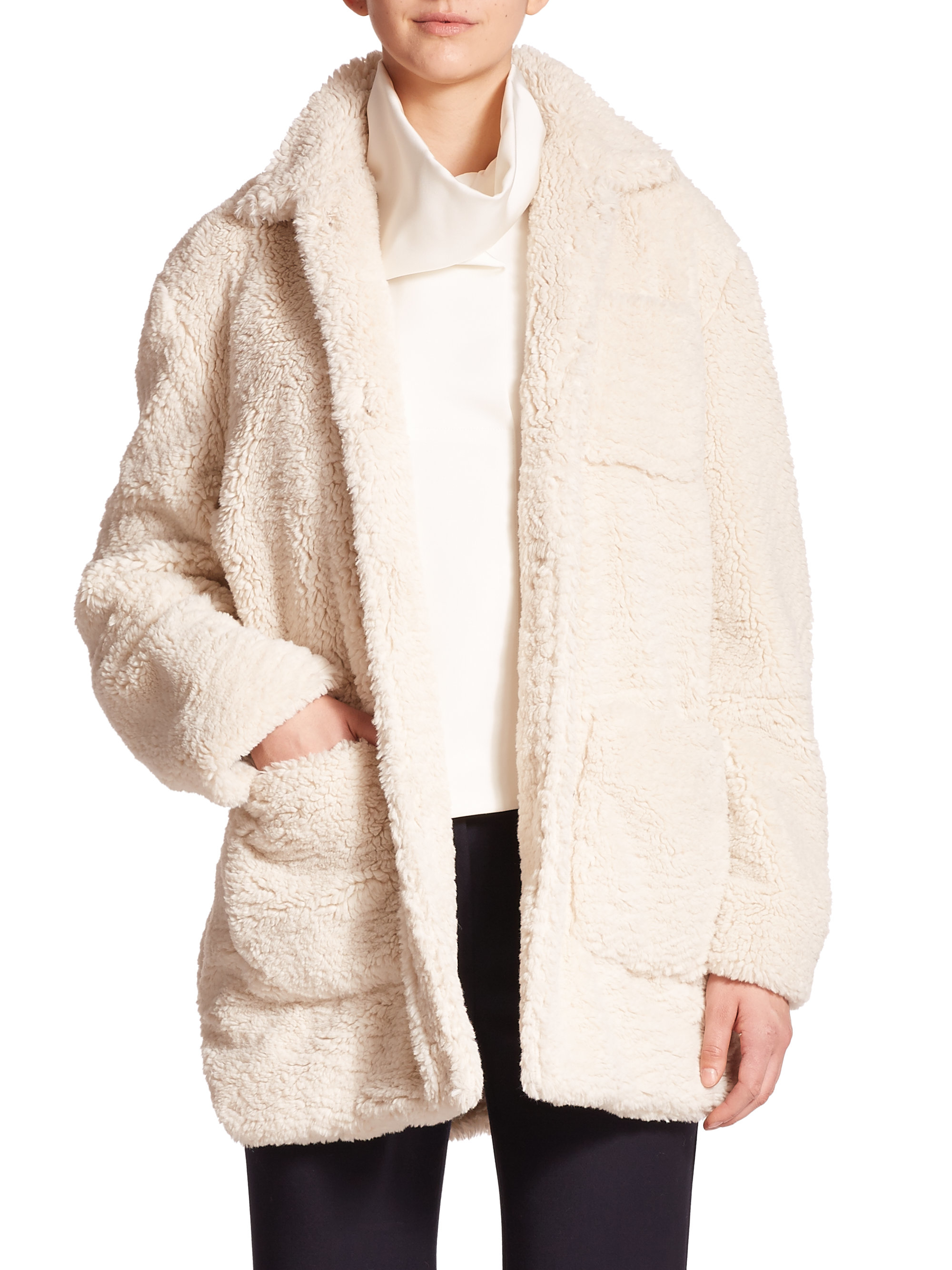 Opening ceremony Bern Oversized Faux Shearling Coat in Natural | Lyst