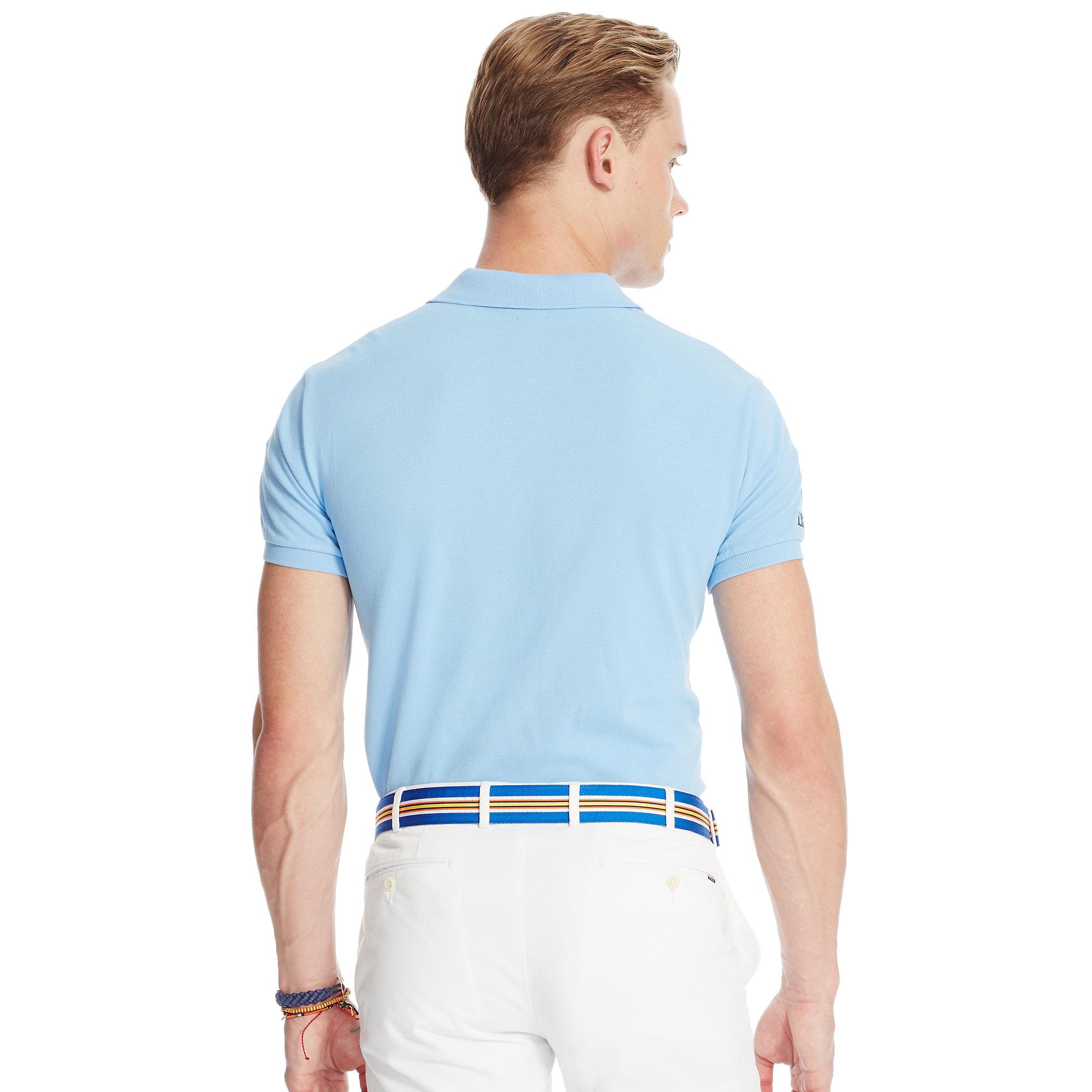 c1e5445d988 ... france lyst polo ralph lauren custom fit banner polo shirt in blue for  men 769d8 364f1