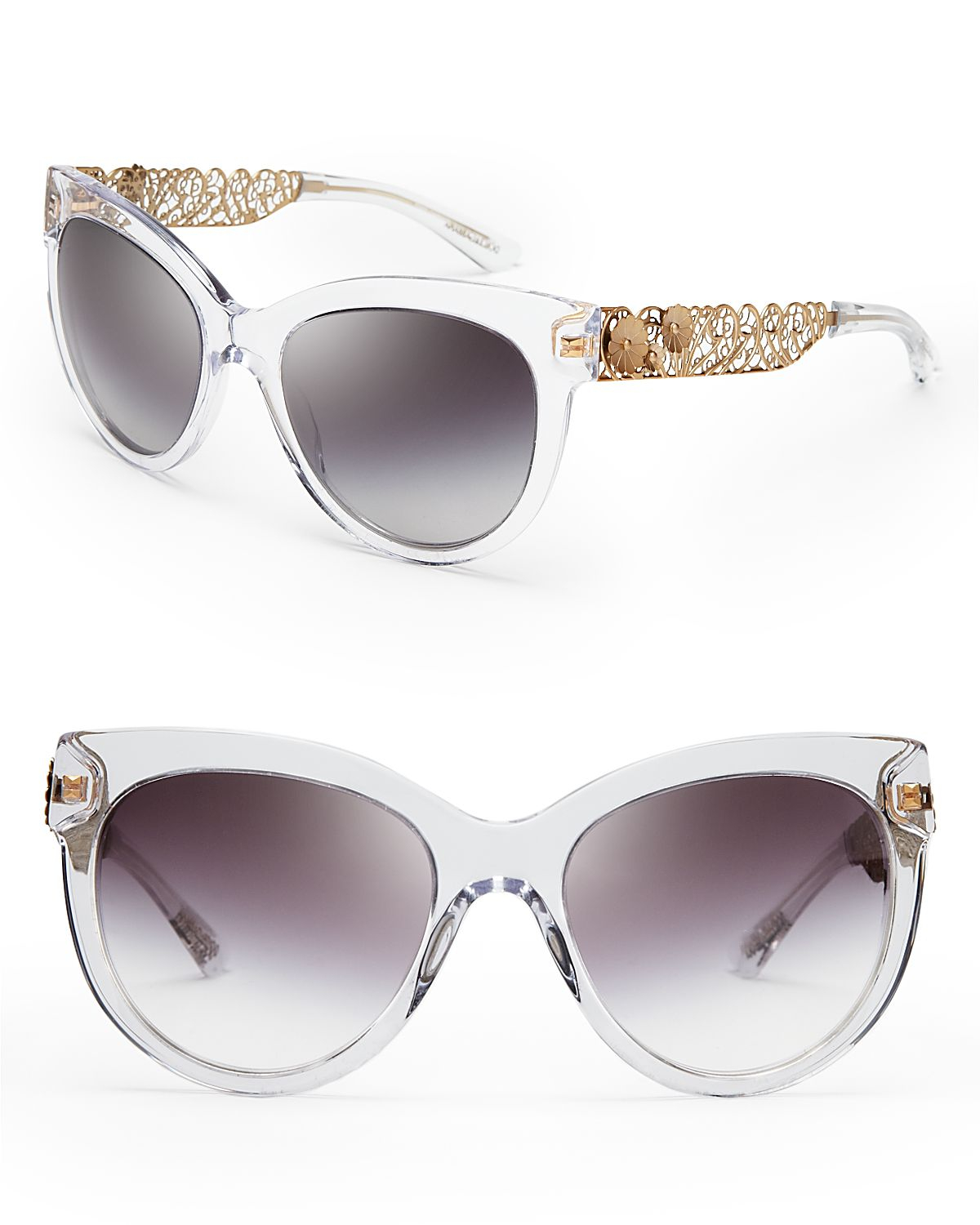 Dolce Amp Gabbana Cat Eye Floral Filigree Sunglasses In