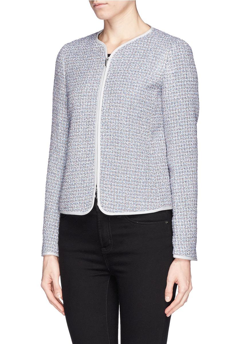 408bdd4f60fb Armani Collarless Bouclé Tweed Jacket in Blue - Lyst