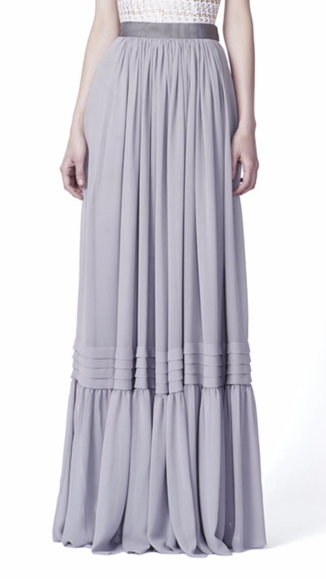 Sandra weil Callao Light Gray Silk Chiffon Maxi Skirt in Gray   Lyst