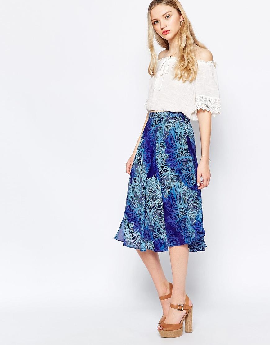 puff cloud midi skirt in blue lyst