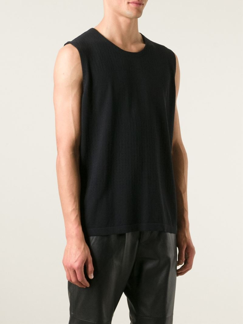 Theory Perforated Sleeveless T Shirt In Black For Men Lyst