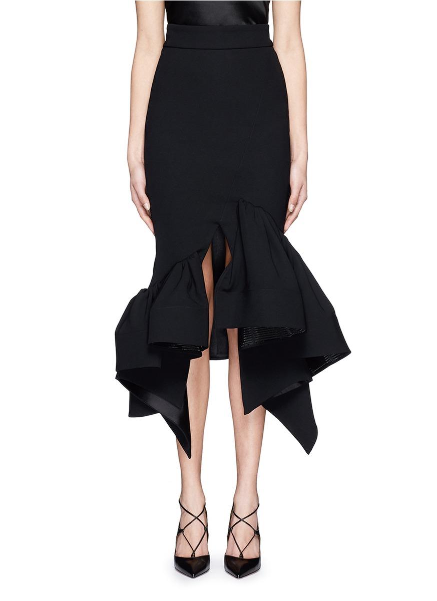 Maticevski 'creature' Ruffle Hem Long Line Skirt in Black | Lyst