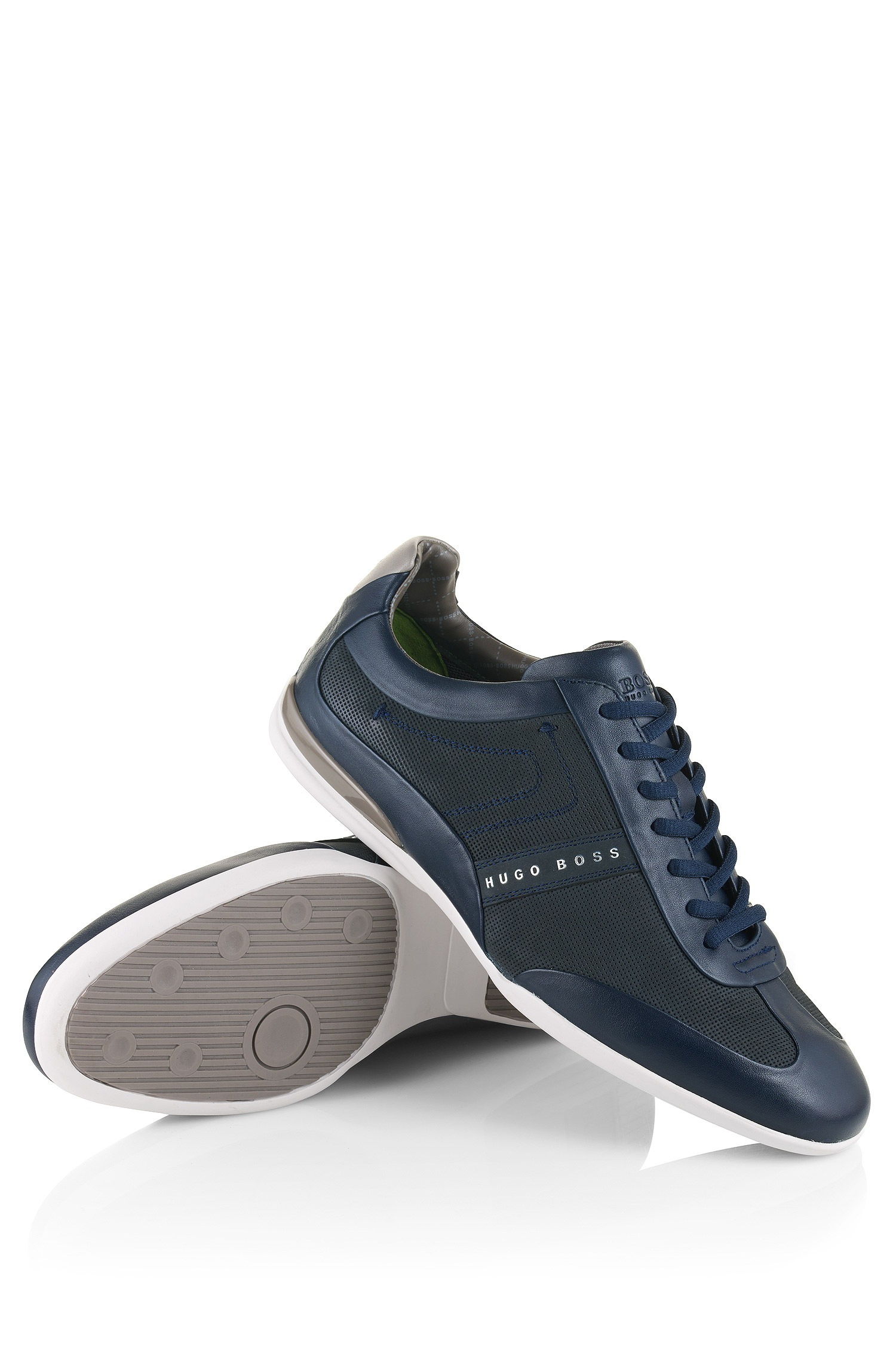 06bd4aedc BOSS Green Leather-mix Trainers: 'space Select' in Blue for Men - Lyst