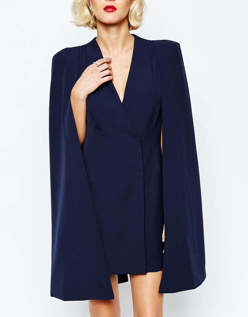 Unique Lyst - Lavish Alice Split Back Cape Dress in Blue IM72