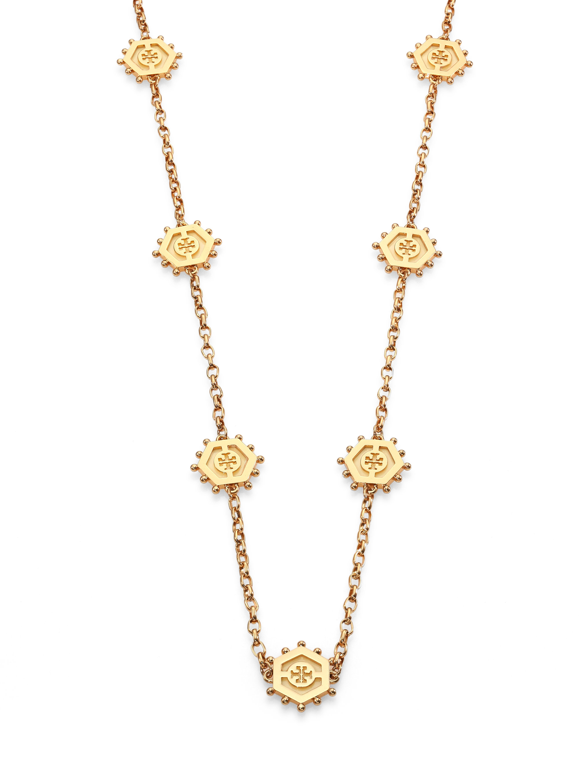 Lyst Tory Burch Caroline Logo Station Necklace In Metallic