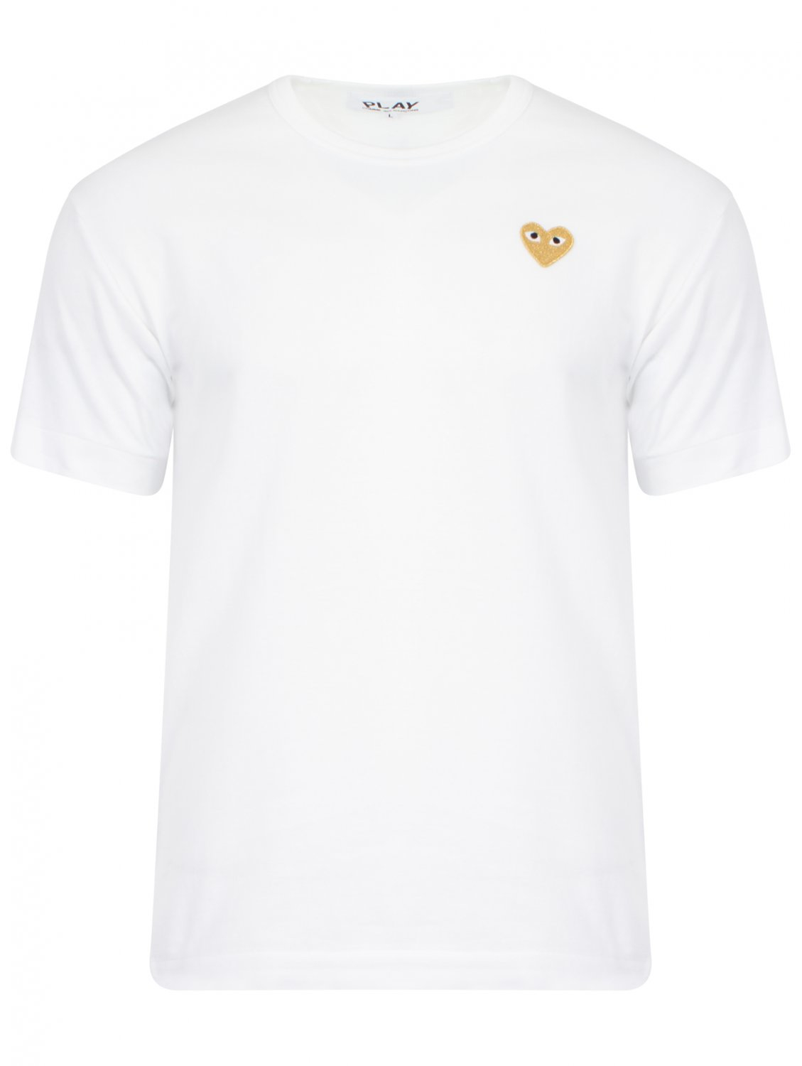 Play Comme Des Gar Ons Play Mens Gold Heart T Shirt White