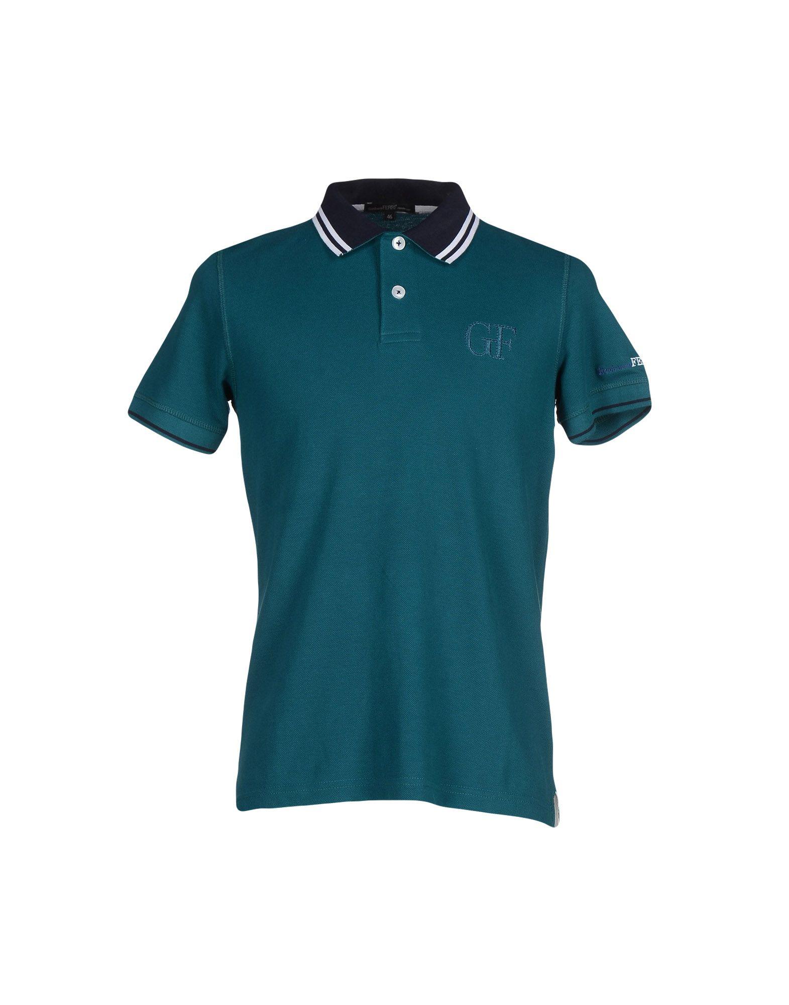 Gianfranco ferr polo shirt in green for men dark green for Dark green mens polo shirt