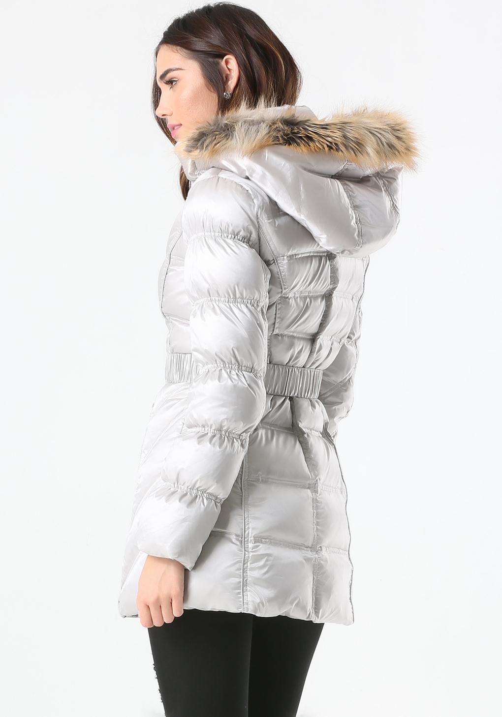 Lyst Bebe Hooded Puffer Coat In Metallic