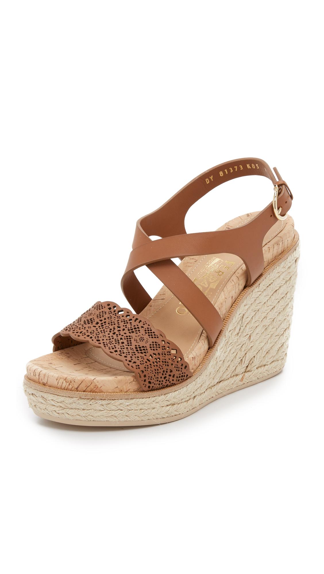 Ferragamo Gioela Wedge Sandals In Natural Lyst