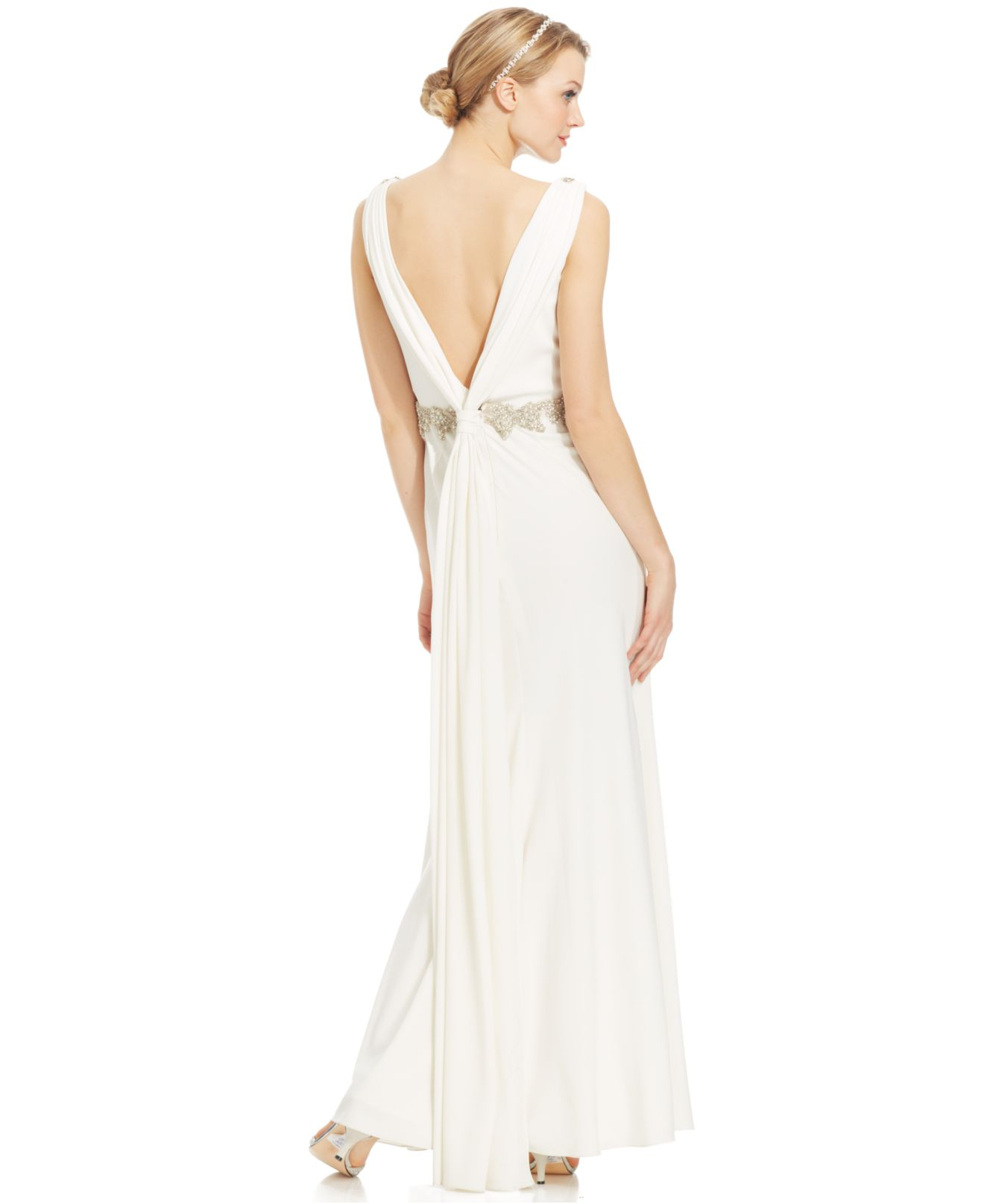 Lyst - Js Collections Beaded V-Back Gown in Natural
