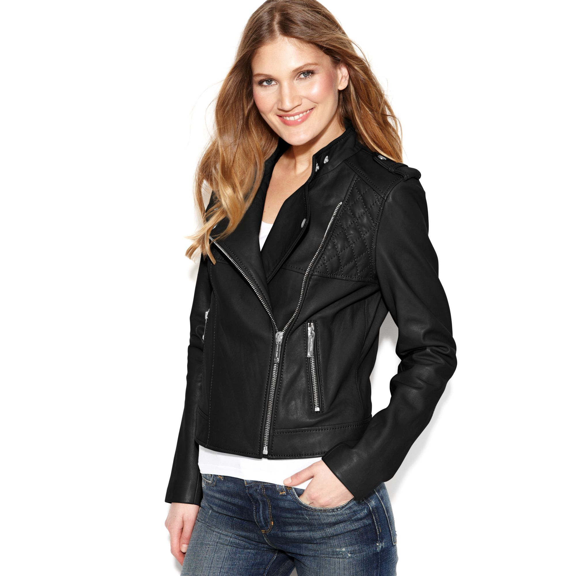 michael kors quilted leather motorcycle jacket in black lyst. Black Bedroom Furniture Sets. Home Design Ideas