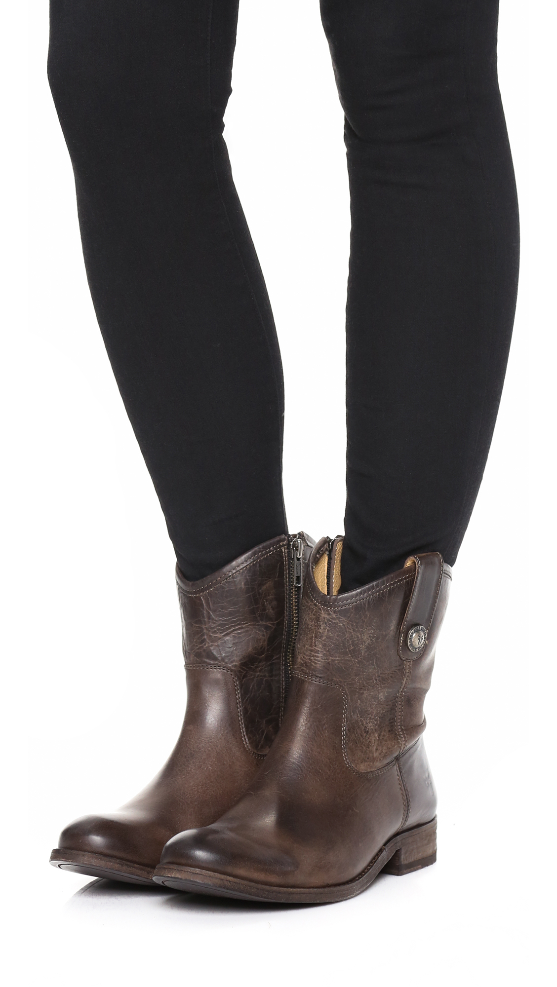 Frye Melissa Button Short Booties In Brown Lyst