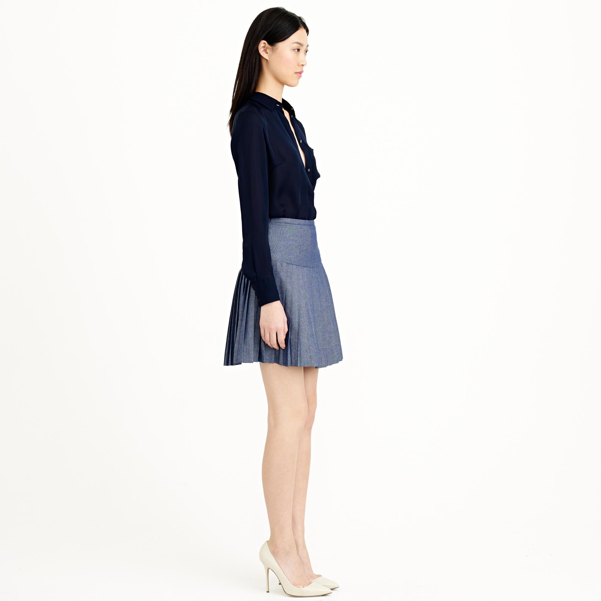 Blue Pleated Mini Skirt 2
