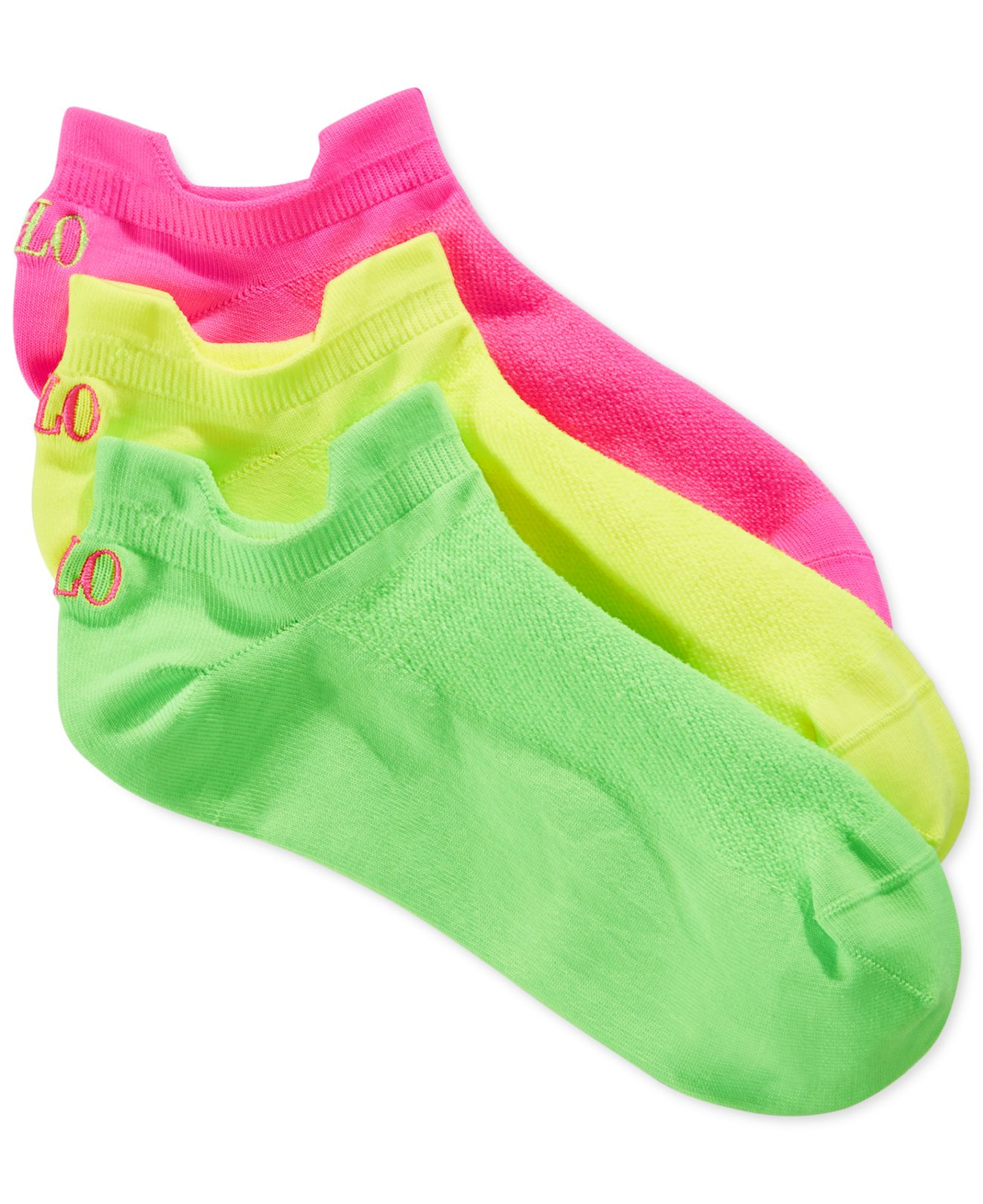 Lyst - Polo Ralph Lauren Women s Microfiber Double Tab Ankle Socks 3 ... a01bfff3f3