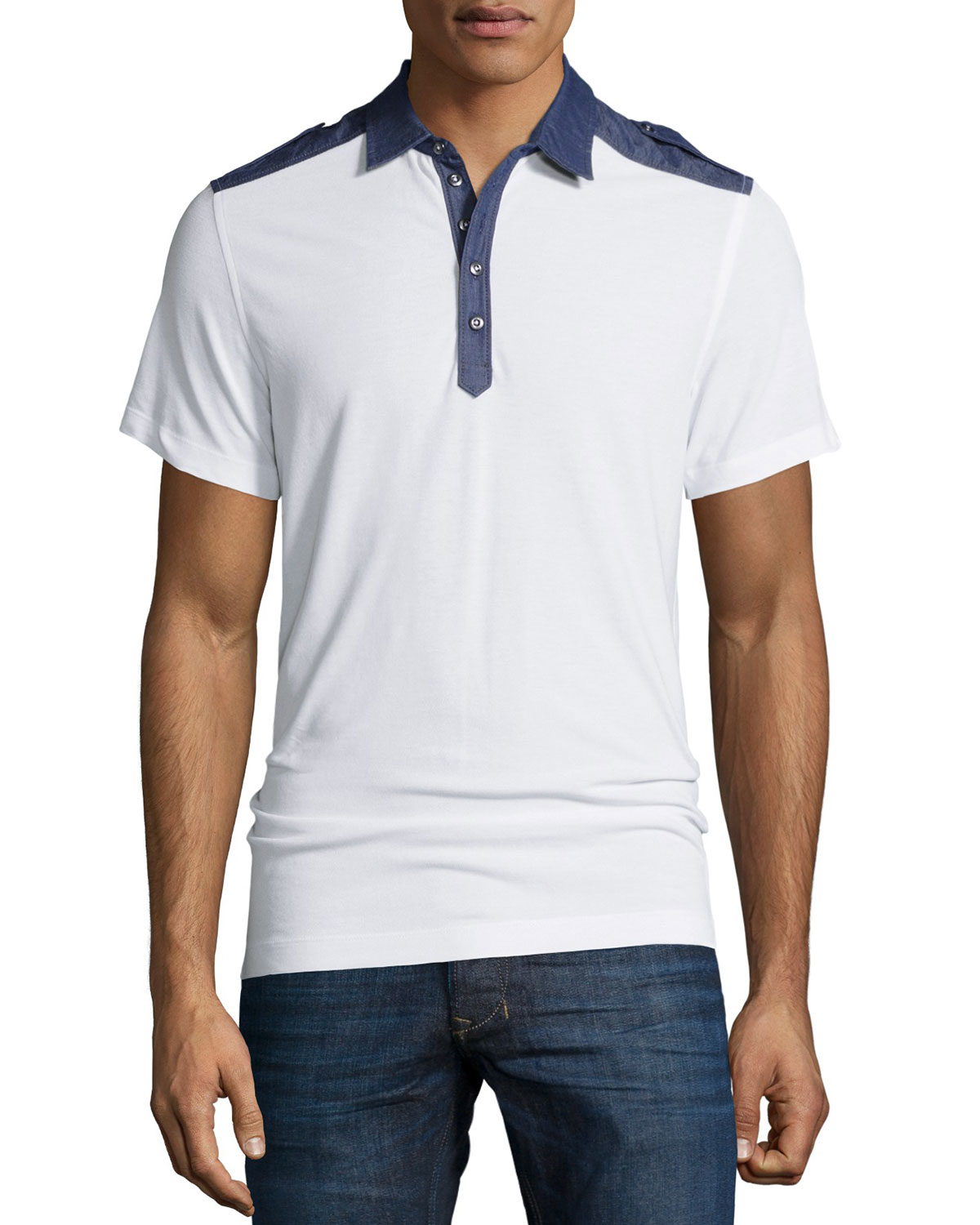 Lyst diesel t angie denim trim short sleeve polo shirt for Polo shirt and jeans