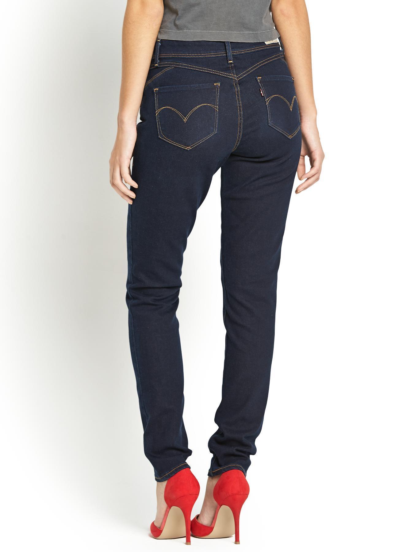 levi 39 s revel shaping slight curve skinny jeans in blue pressed dark lyst. Black Bedroom Furniture Sets. Home Design Ideas